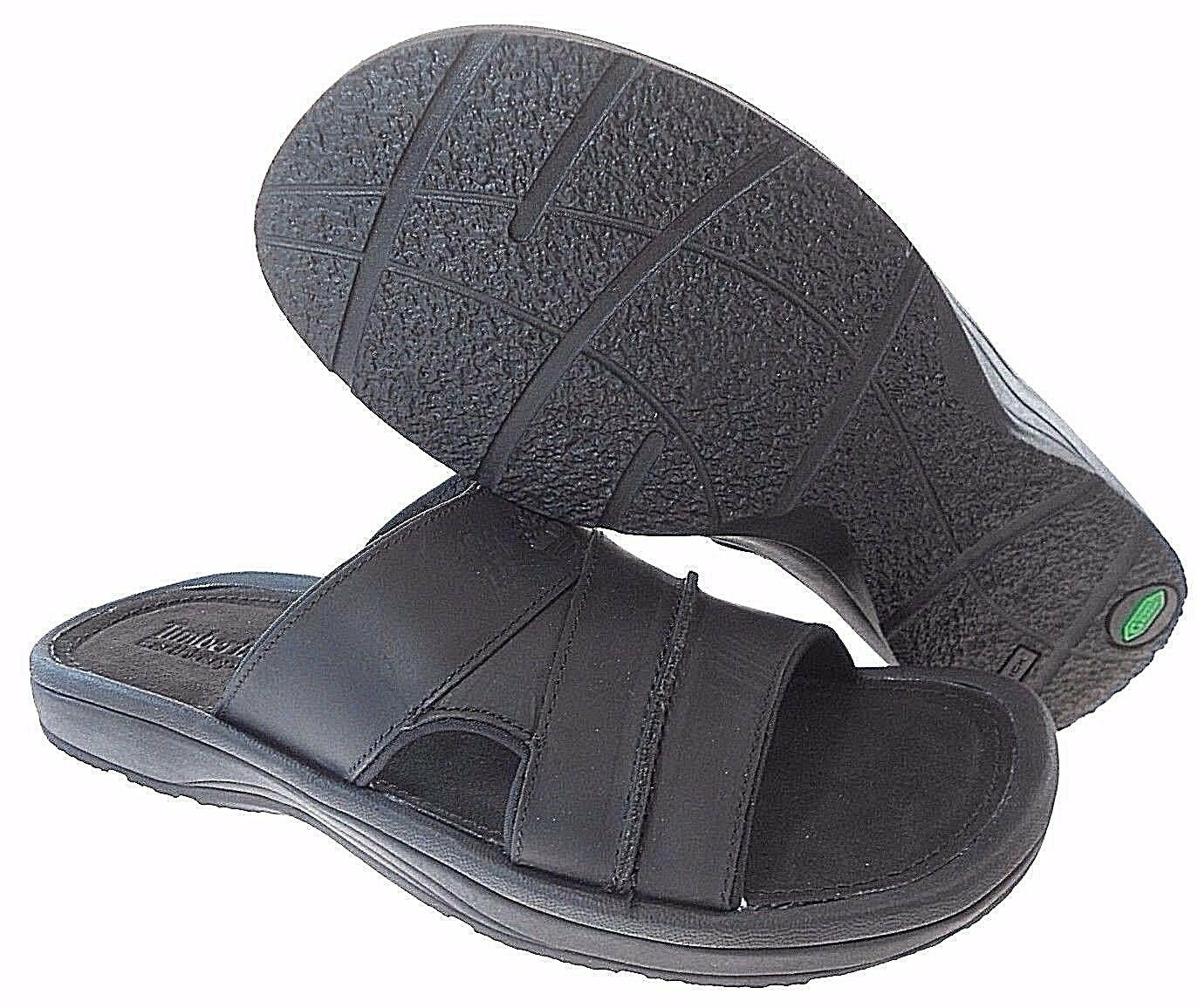 Primary image for TIMBERLAND 3328A MEN'S BLACK LEATHER SLIDE SANDALS sz 7, 8