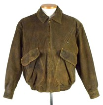Context Heavy Roughout Leather Brown Bomber Jacket Zip Up Western Mens S... - $34.64