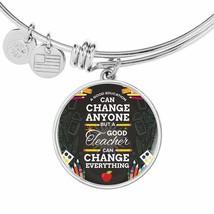 Teacher Gift Stainless Steel or 18k Gold Circle Bangle Bracelet - $47.45+