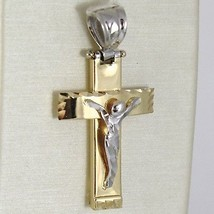 Cross Pendant Gold Yellow White 750 18k, with Christ, Square, Made in Italy image 1