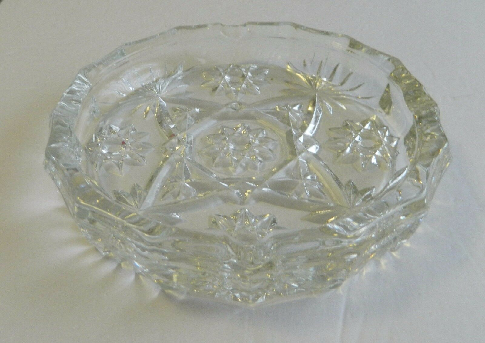 "EAPC Star of David Anchor Hocking 7 1/2"" Large Ashtray Early American Prescut"