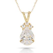 3.70 CT  Topaz Pear Shape 4 Stone Gemstone Pendant & Necklace 14K Yellow... - $153.45