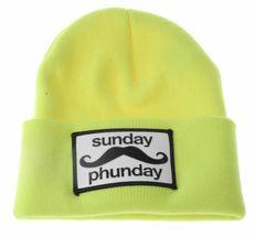 Team Phun Sunday Phunday Neon Orange Pink Yellow Green Skullie Hat Beanie Hat NW image 6