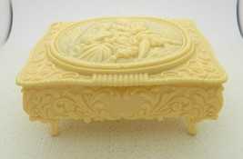 Vintage Victorian Couple Ivory Celluloid Footed Jewelry Trinket Box With... - $22.27