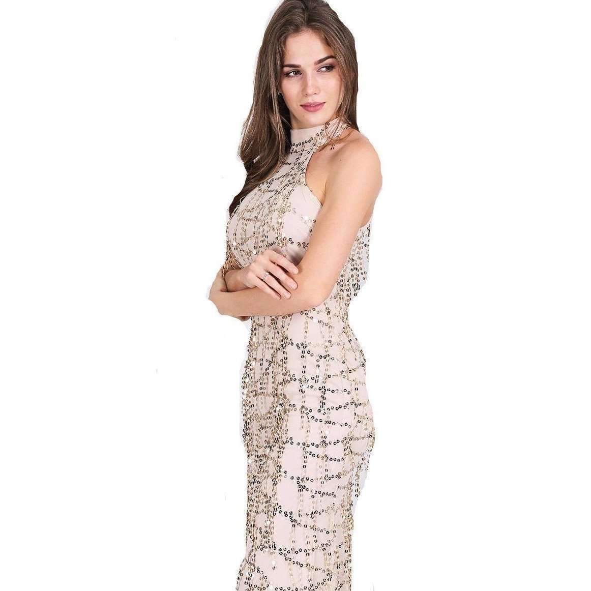 For less maxi dress white small high neck sequins tassels women mermaid maxi dress 1400212652063