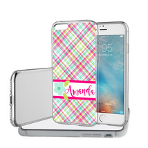 PERSONALIZED CASE FOR iPHONE X 8 7 6S 6 PLUS PINK BLUE PLAID FLOWER CLEAR - $13.95