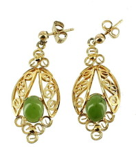 VINTAGE GOLD PLATED OVAL SPINACH JADE 1.78CT FILIGREE DROP POST EARRINGS... - $63.00