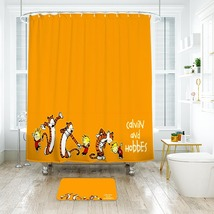 Cartoon 46 Shower Curtain Waterproof Polyester Fabric & Bath Mat For Bat... - $15.30+