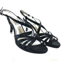 The Touch of Nina Black Formal Satin Strappy Heels Sandals Rhinestones Size 8 - $13.78
