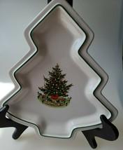 Pfaltzgraff Christmas Heritage Holiday Tree Shaped Serving Plate Dish 1994 - $10.99
