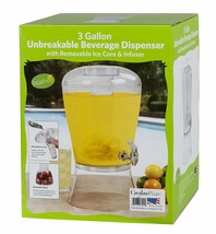Beverage Dispenser Ice Infuser 3 Gallon Water Party Juice Drinks Transpa... - $35.34 CAD