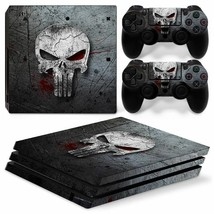 Punisher Sony PS4 PRO Console & 2 Controllers Decal Vinyl Skin Wrap Sticker - $15.81