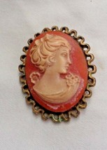 """Vintage Resin Cameo Brooch with Lady Pink Cameo gold tone edge 2"""" x1 1/2"""" - $12.83"""