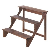 Outside Plant Stand, Wood Steps Indoor Outdoor Garden Decorative Plant S... - $66.19