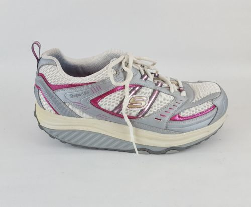 SKECHERS Shape Ups 11814 White Silver Pink Walking Toning Shoes Womens Size 9