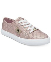 G by Guess Women's Backer2 Lace Up Leather Quilted Pattern Sneakers Shoes Pink