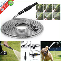 Ptrong 304 Stainless Steel Metal Garden Hose with Nozzle 50 ft Flexible ... - $38.99