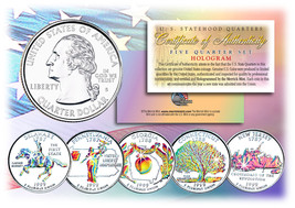 1999 US Statehood Quarters HOLOGRAM *** 5-Coin Complete Set *** w/Capsul... - $12.82