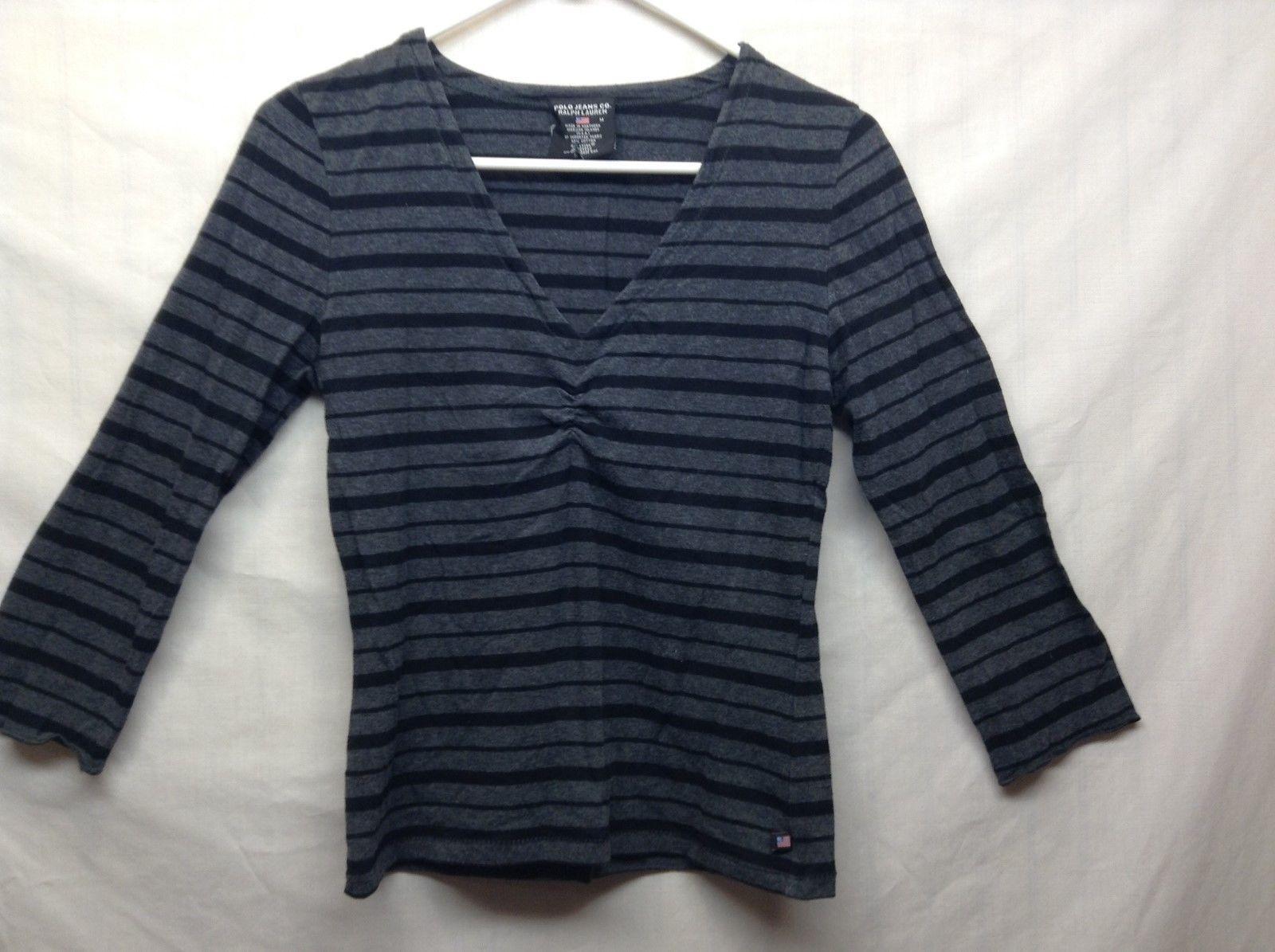 Polo Jeans Co Ralph Lauren Ladies Black/Gray V Neck Shirt Sz Medium
