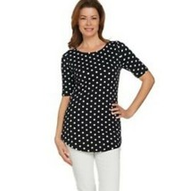 Isaac Mizrahi NYC Black And White Polka Dot Shirt Size Medium - $15.84