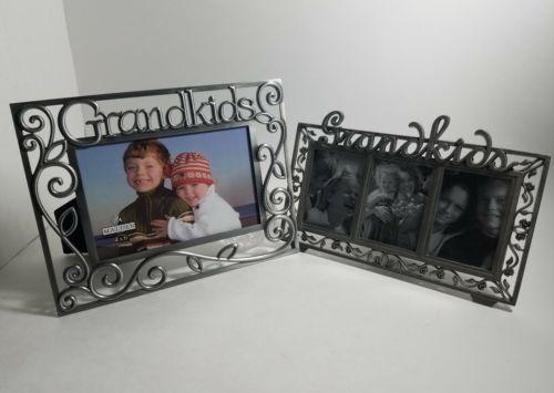 "GRANDKIDS PICTURE FRAMES 4"" x 6"",  2""x 3"" MALDEN FELCO STEEL FRAME HOME DECOR"