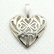 Sterling Silver 925 Dainty Openwork Heart Pendant FREE Shipping - $14.99