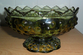 Fenton Colonial Green Hobnail Candle Holder Bowl Centerpiece Fits MultiS... - $15.10