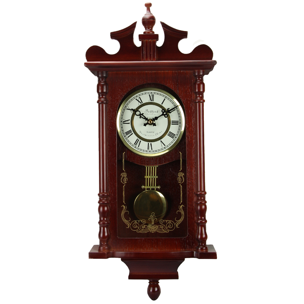 Bedford Collection 25 Inch Wall Clock with Pendulum and Chime in Dark Redwood Oa