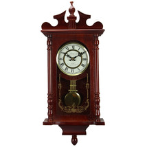 Bedford Collection 25 Inch Wall Clock with Pendulum and Chime in Dark Re... - $123.63