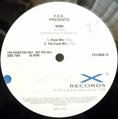 "F.O.X - Boing - PROMO - ZYX Records ZYX 6836-12 - 12"" Single PROMO"