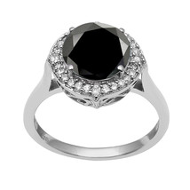 925 Sterling Silver Black Spinel & White Topaz Ring Shine Jewelry Sz-9 S... - £18.46 GBP