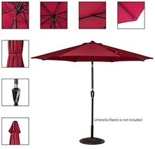 Sundale Outdoor 10 Feet Outdoor Patio Umbrella With Auto Tilt Burgundy 2... - $171.39 CAD