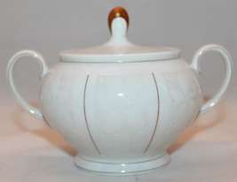 Rosenthal Germany White Velvet Gold Trim Double Handled Sugar Bowl Lid L... - $36.66