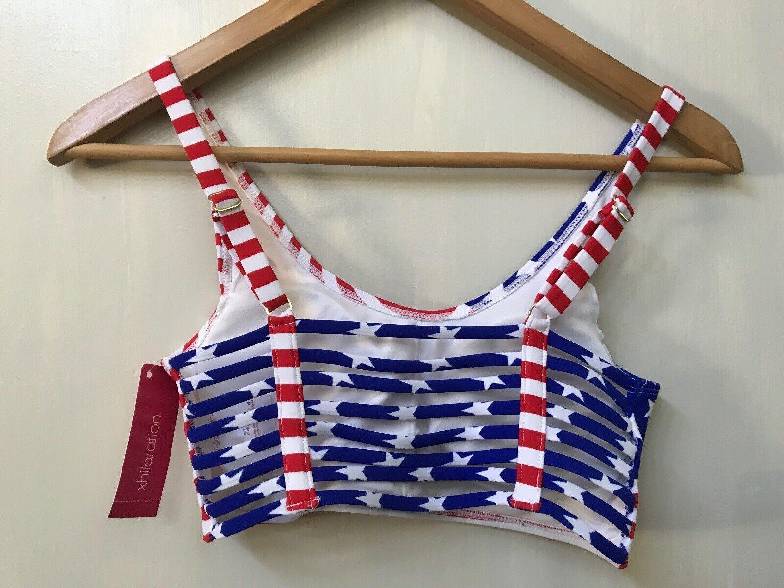 Xhilaration American Flag Bikini Sport Top Scrappy Back Size S NWT