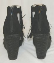 BF Betani Shiloh 8 Black Fringe Wedge Heel Sandals Size 6 And Half image 5