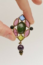 Vintage Sorelli clip earrings runway stained glass style bezel set open ... - $36.62