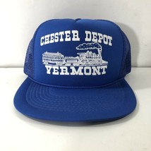 Vintage Chester Depot Vermont Train Railroad Snapback Mesh Trucker Hat Blue  -  24.74 e9455821dee5