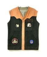 Biker Motorcycle Vest Mens Denim Black/Orange with Harley Davidson Patches - $88.61