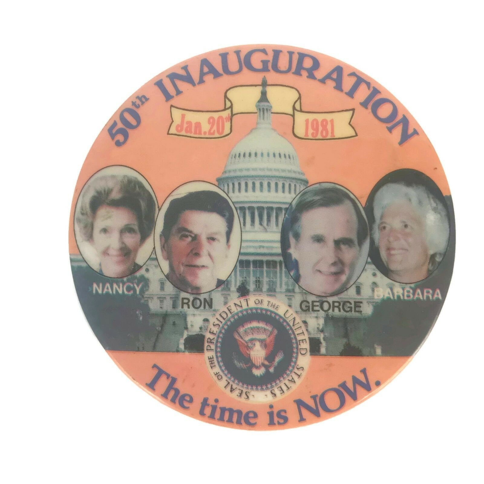 Primary image for Vintage 1981 50th Inauguration Presidential Political Pinback Button Reagan Bush