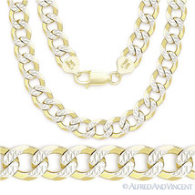 Cuban Curb Sterling Silver 14k Yellow Gold Men's 9mm Link Italian Chain Necklace - $151.86 - $224.57