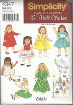 """Simplicity Archives 18"""" Doll Clothes Pattern #4347-Fits American Girl-Dr... - $4.95"""