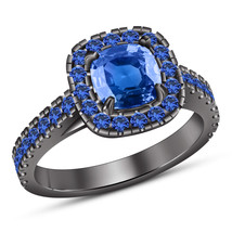 Black Gold Plated 925 Silver Cushion Cut Blue Sapphire Women's Engagement Ring - $83.99