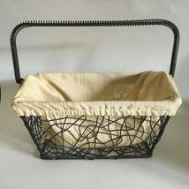 "Metal Wire Basket w/ Handle & Fabric Lining 9x5x5"" Handle 4"" Drop Rustic... - $19.55"