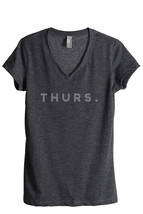 Thread Tank Thurs. Thursday Women's Relaxed V-Neck T-Shirt Tee Charcoal - $24.99+