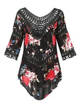 Ferand Women's Floral Flounce Three-Quarter Crochet Poncho Tunic Top, On... - $20.22
