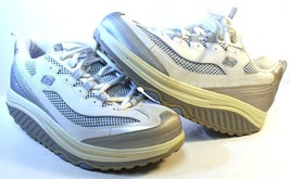 SKECHERS Shape-Ups 11803 White/Silver/Blue Toning Walking Sneakers Womens 8 M - $24.83
