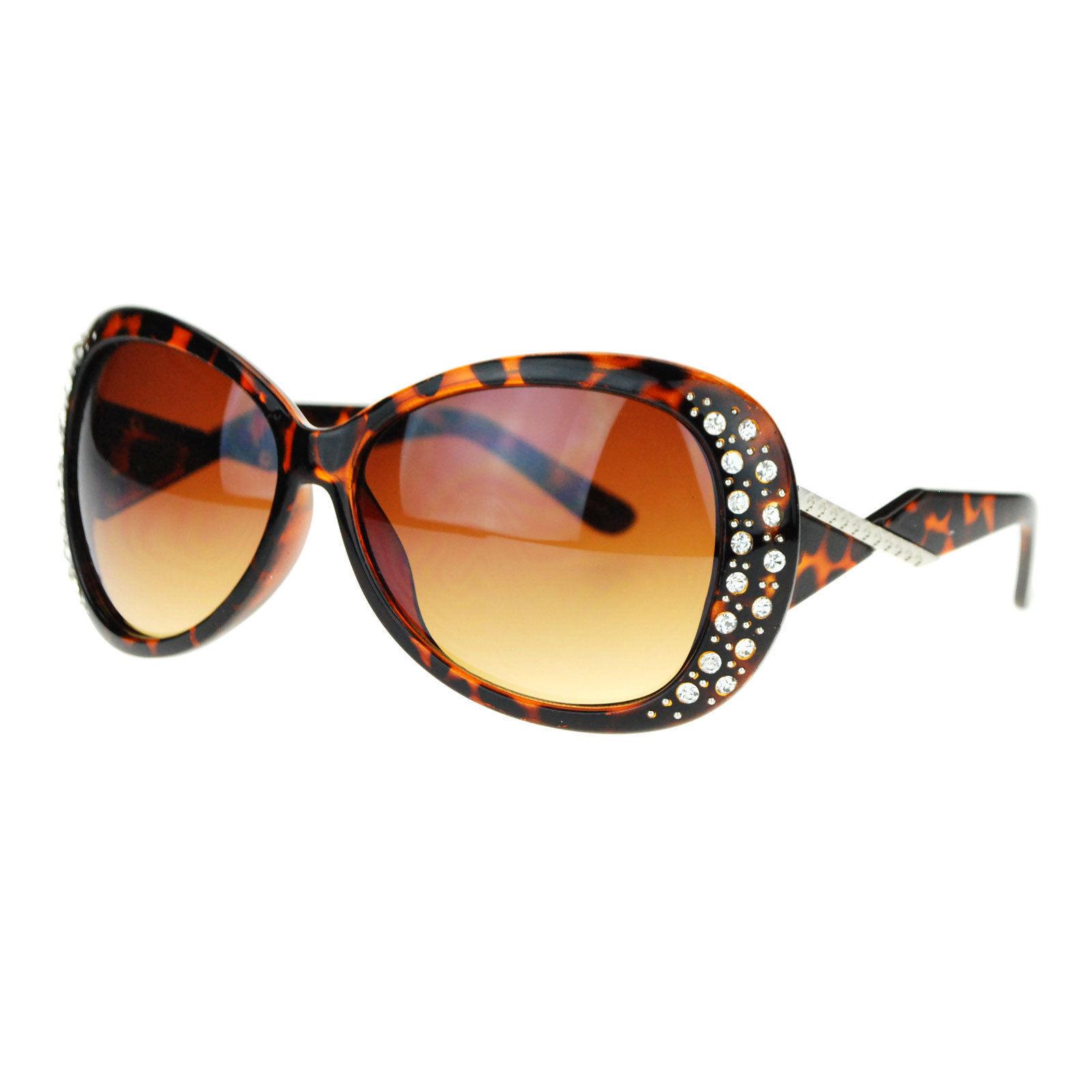 Womens Rhinestone Sunglasses Oversized Round Butterfly Designer Frame