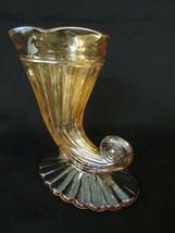 Jeanette Carnival Glass Cornucopia Vase, Light Iridescent, Horn of Plent... - $9.49