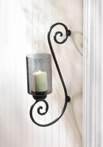 Black Iron Scrollwork with Smoked Glass Cup Candle Wall Sconce - $33.90