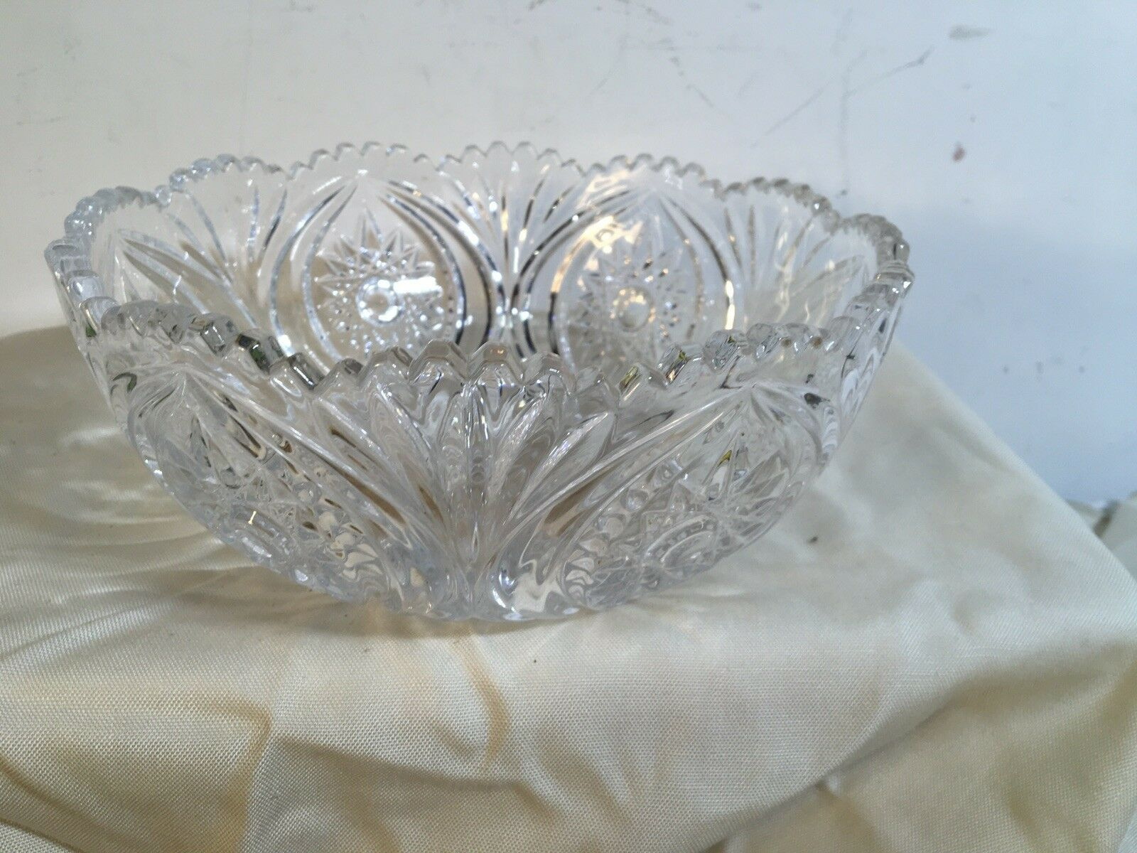 Primary image for ABP Style American Brilliant Cut Glass Bowl Sawtooth Pressed